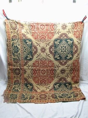 Antique Coverlet Loom Woven Bed Spread Linen 1847 Blanket Cover