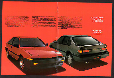 1987 ACURA Integra LS Vintage Original Print AD - Black & red car photo, sedan