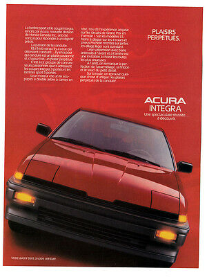 1987 ACURA Integra vintage Original Print AD - red car, french canadian, plaisir