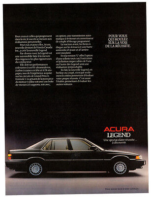 1987 ACURA Legend vintage Original Print AD - Black car french canadian