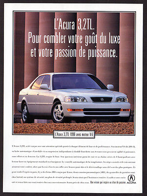 1996 ACURA 3.2TL Original Print AD - White car photo V-6 french canadian