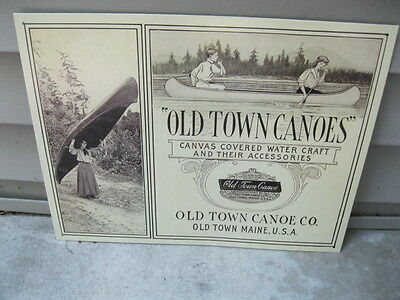 Old Town Canoes Canvas Covered Watercraft Metal Sign Advertising Old Town Maine