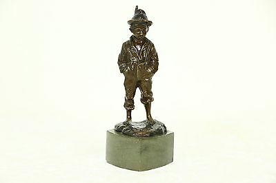 Bronze Antique Sculpture of a Boy with a Feather in his Cap, Marble Base