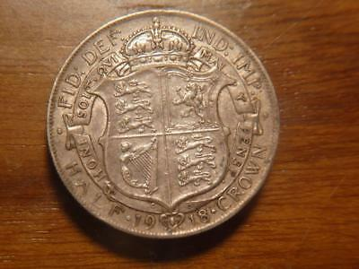 Great Britain 1918 Silver Half Crown, VF-XF Condition, SKU #8665
