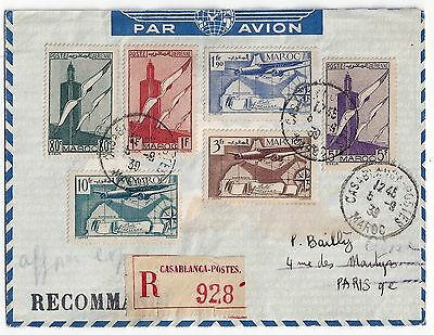 Morocco To France 1939 Registered Casa Blanca Airmail Multifranked Cover To Pari