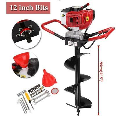 """2.3HP Gas Powered Post Hole Digger + Auger Bits 12"""" 3/4"""" Shaft 52CC Power Engine"""