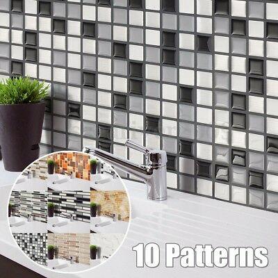 3D Mosaic Tile Modern Wallpaper Foil Sticker Bathroom Kitchen Home Wall Decor