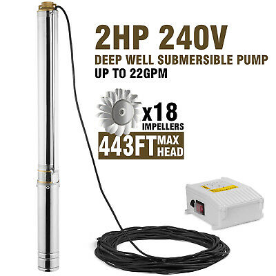 "Submersible Pump, 4"" Deep Well, 2 Hp, 240V, 22 Gpm, 443 Ft Max, Long Life"
