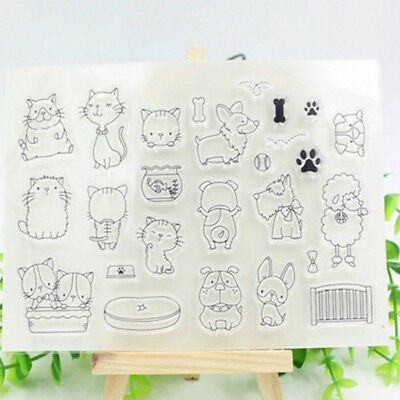 DIY Cute Animals Transparent Silicone Clear Stamp Seal Sheet Cling Scrapbooking