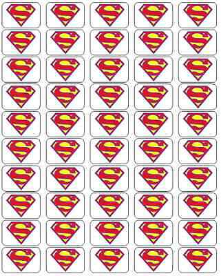 """50 Superman Envelope Seals / Labels / Stickers,  1"""" by 1.5"""""""