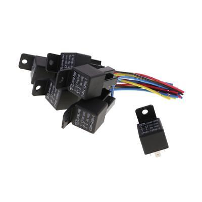 5 Set 12V DC 40A 40Amp 5-Pin SPDT Automotive Car Relay 5 Wires Harness Set