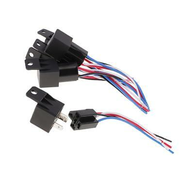 5 Set 12V DC 40A 40Amp 4-Pin SPDT Automotive Car Relay 4 Wires Harness Set