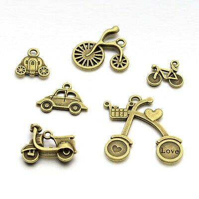 40pcs Antique Bronze Mixed Shape Tibetan Style Alloy Pendants 14~33x15~32x2~6mm