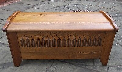 Good Quality, Thick Solid Golden Oak Dome Top Coffer, Blanket Box, Trunk, Chest