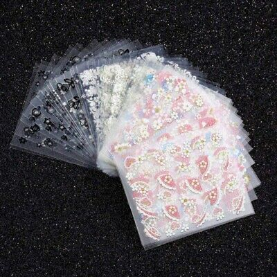 50 Sheets Beauty Flower 3D Nail Art Transfer Stickers Decals Manicure Decor Tips