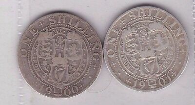 1900 & 1901 Victorian Silver Shillings In A Well Used Condition