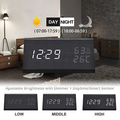 Voice Control Wooden Digital Alarm Clock LED Night Light Temperature Humidity