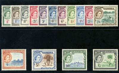 Gambia 1953 QEII set complete superb MNH. SG 171-185. Sc 153-167.