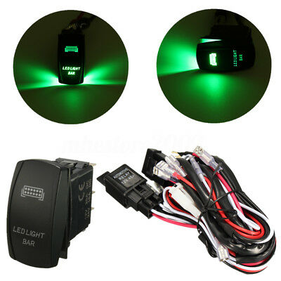 Green LED Light Bar Laser Rocker Switch With On-OFF Wiring Harness Fuse Relay