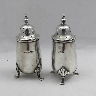 ANTIQUE VINTAGE SOLID SILVER PEPPER POTS E S BARNSLEY 1920 105 g LOVELY QUALITY