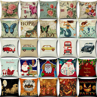 Vintage Retro Cotton Linen Waist Throw Pillow Case Cushion Cover Sofa Home Decor