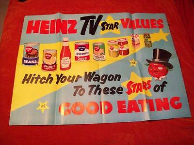 7094---original Heinz poster Hitch Your Wagon -- Mr Tomato -- huge 47 x 36