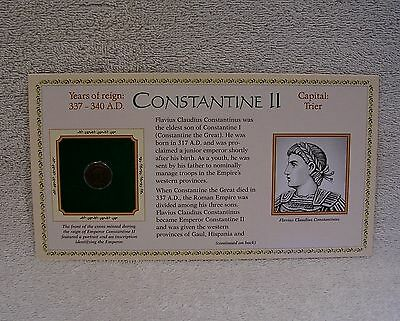 Coinage of Ancient Roman Emperor - Constantine II 337 A.D. Genuine Bronze Coin