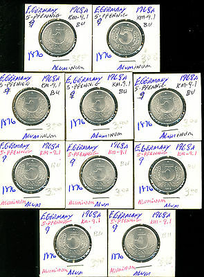 East Germany - 1968 - 5 Pfennig - Lot Of 10 Uncirculated Coins