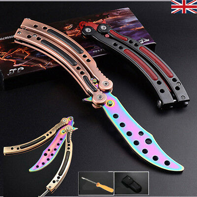 Blunt Stainless Steel Practice BALISONG BUTTERFLY Trainer Training Knife Tool UK