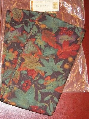 "Longaberger 2 FALLING LEAVES Fabric NAPKINS or 19"" Table Square NIB 4 available"