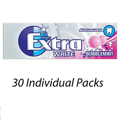 WRIGLEYS EXTRA WHITE BUBBLEMINT 10 PIECES 14g CHEWING GUM x 30 PACKETS 142246