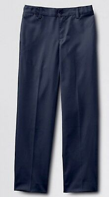LANDS END Boy's Navy Iron Knees Uniform Pants Size 18 Husky X 26 NEW MSRP $33!