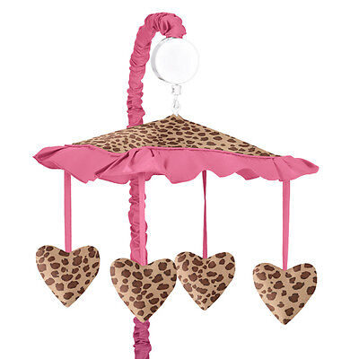 Sweet Jojo Designs Musical Mobile for Pink Cheetah Print Baby Crib Bedding Set