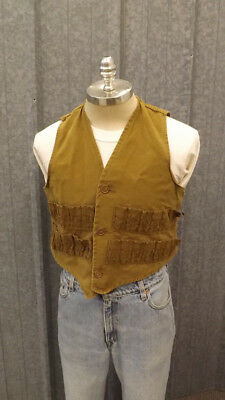 Vtg Bullseye Bill 50's Hunting Vest, Duck Cotton,w/o Game Pouch sz S