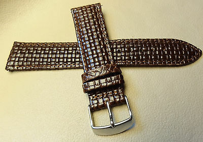 New Mens Brown Padded Woven Braided 22mm Watch Band BEAUTIFUL Silver Tone Buckle