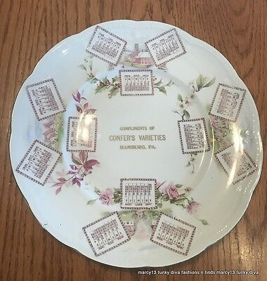Vintage 1906 Advertising Calendar Plate Confer's Varieties, Hamburg PA