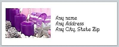 Personalized Return Address Labels Christmas Candles Buy3 get1 free (ac 274)