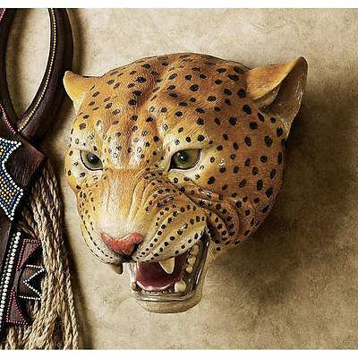 African Wildlife Spotted Leopard Realistic Replica Trophy Sculpture Wall Decor