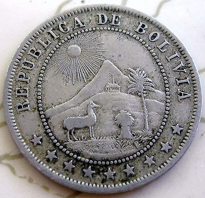 Coin Bolivia 10C 1908 T14