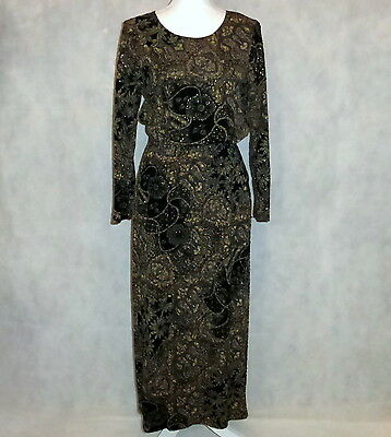 Notations Formal Travel Black Gold Brown Flowers Blouse & Skirt 2pc Set Petite L