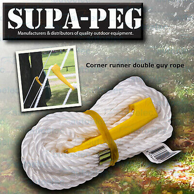 Supa Peg Corner Runner Double Guy Rope Tent Marque Annex Pole Heavy Duty Camping