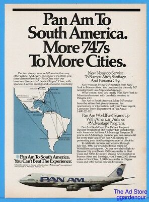 1986 Pan Am South America Route Map 747 Jet Non Stop Service Print Ad