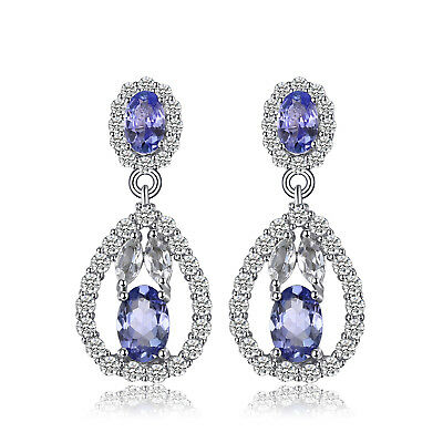 JewelryPalace 925 Sterling Silver Natural Tanzanite White Topaz Dangle Earrings