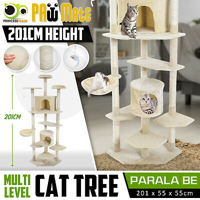 Cat Tree Scratching Post Scratcher Pole Gym House Furniture Multi Level 201cm BE