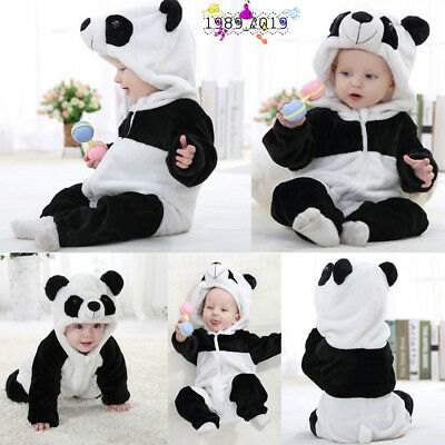 Kid Toddler Newborn Baby Boys Girls Panda Cartoon Hooded Rompers Outfits Clothes