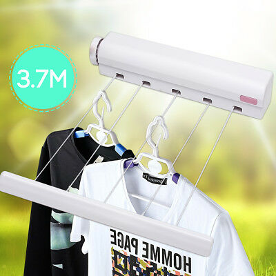 3.7M 5 Line 12FT Retractable Clothes Airer Washing Line Laundry Wall Mount Dryer