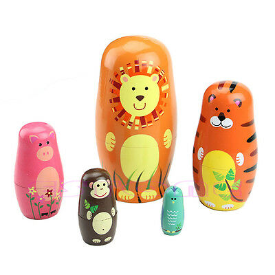 5Pc Cute Russian Doll Wooden Animal Nesting Dolls Matryoshka Babushka Paint Gift