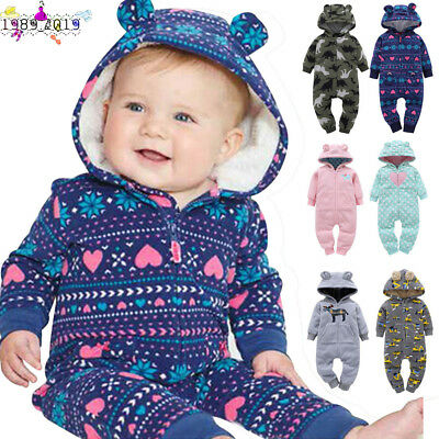 Kid Toddler Newborn Baby Boy Girls Printed Animal Hooded Rompers Outfits Clothes