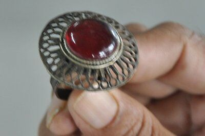 Old White Metal & Copper Unique Jali Cut Handcrafted Tribal Ring , Nice Patina