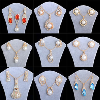 Birdal Jewelry Set 18k Gold Plated Imitated Pearl Rhinestone Necklace+Earrings